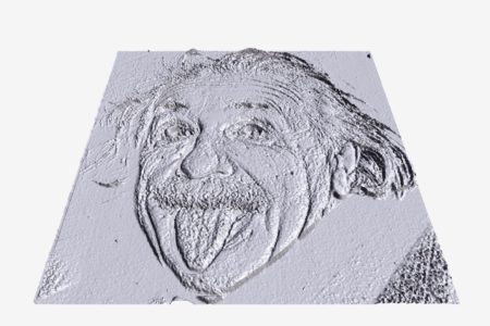 Modelo 3D generado a partir de la imagen de A. Einstein sacando la lengua